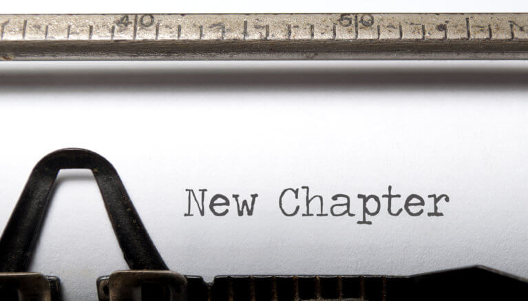 New chapter printed on a tyepwriter